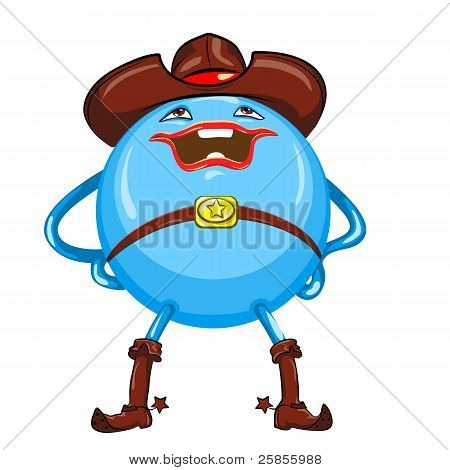 Vector Cartoon Funny Round Smiling Bright Blue-colored Monster
