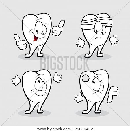 Funny emotional tooth. Vector Illustration
