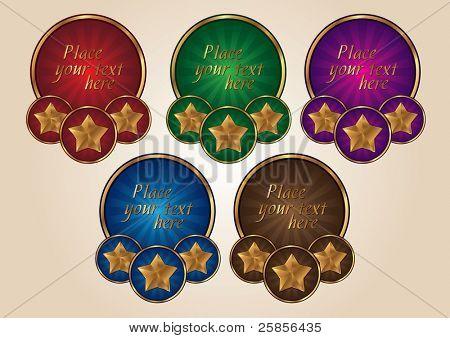 Gold award labels. Vector Illustration