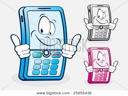 Funny mobile telephone. Vector Illustration