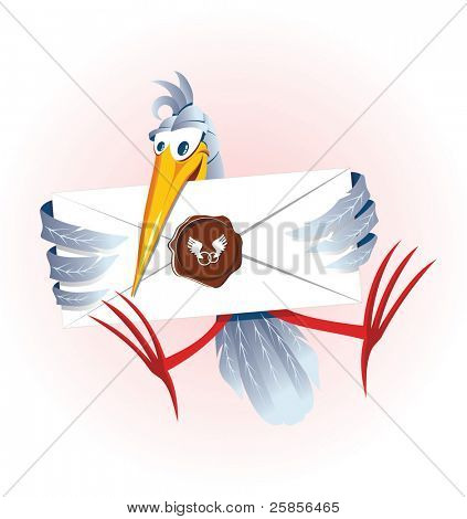 Stork with the letter