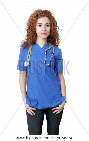 Young female doctor smiling in blue uniform