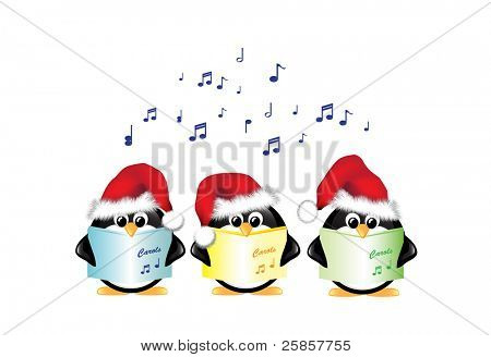 Winter cartoon penguins wearing Santa hats and singing Christmas Carols. Isolated on white. EPS10 vector format.
