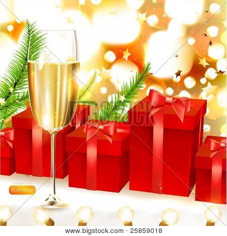 elegante fondo de Navidad con regalos rojos, ramas firtree y Copa de champagne