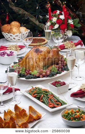 Roasted Turkey And Christmas Tree