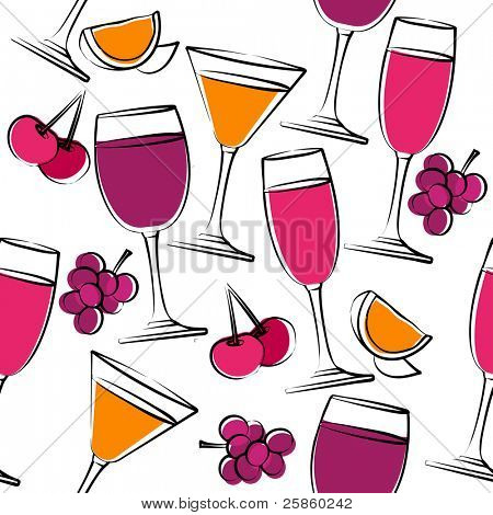Seamless pattern with simple glasses of wine. Raster version.