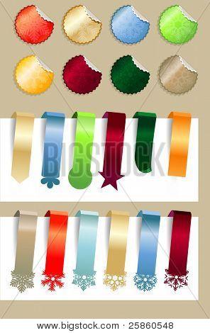 Coleção de adesivos de Natal modernas com flocos de neve. Versão raster.