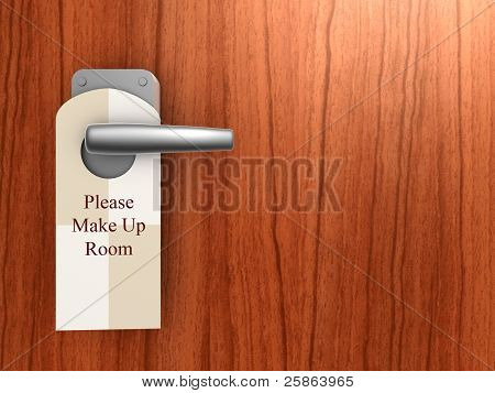 Please Make Up Room Sign On Hotel Door