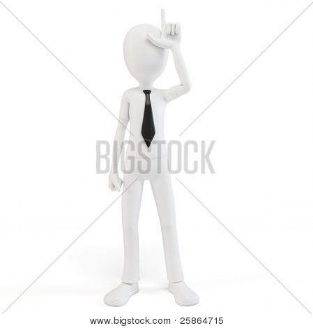 3D Man Businessman With Loser Sign