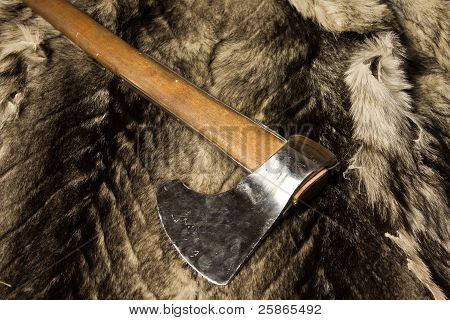 Medieval Axe On A Wolf Fur