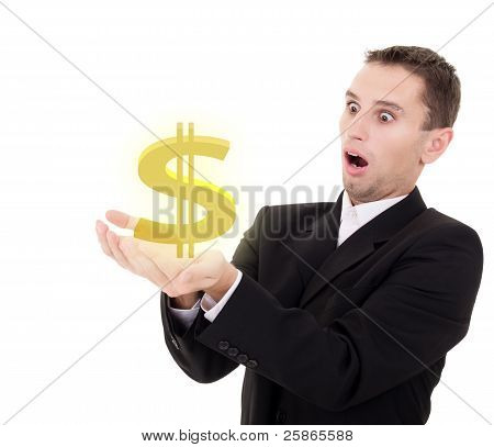 Businessman Chooses Golden Us Dollar Sign