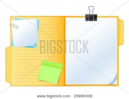 vector illustration of folder with papers