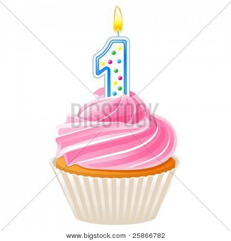 vector illustration of Cupcake with candle