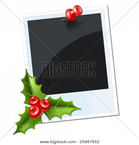 photo with red thumbtack. christmas mistletoe