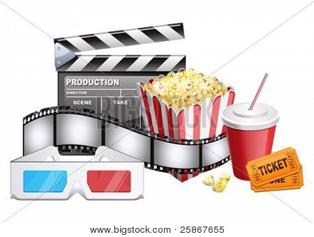 background of movie related items. Vector illustration of 3-d glasses, cardboard, popcorn, ticket, cola