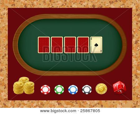 Poker table with cards. Gambling chip
