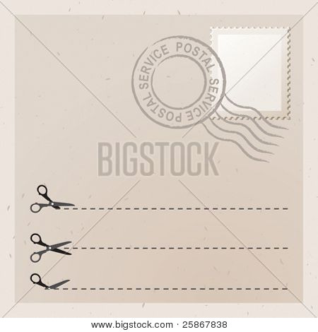Old letter with stamp. Scissors with cut lines