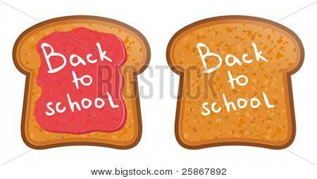 School Lunch.Toast with jam. Back to School