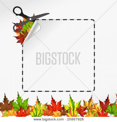 Vector sscissors cut sticker. Autumn leaf