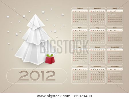 calendar design 2012 - week starts with sunday - vector