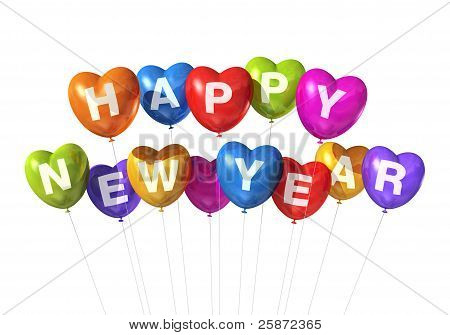 Colored Happy New Year Heart Shaped Balloons
