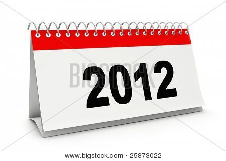 Desk calendar with 2012 figures  isolated on white.