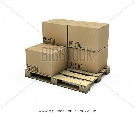 Cardboard boxes on pallet