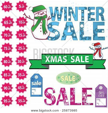 set of vector sale price tags