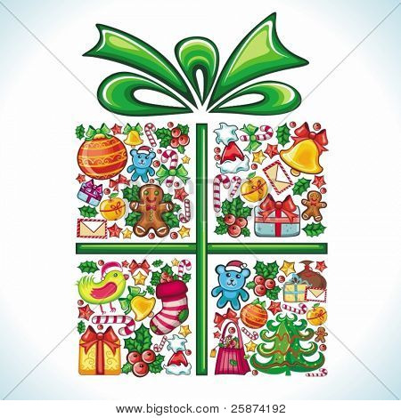 Christmas present, gift box, formed by different types of Christmas design elements and festive red ribbon, bow. colorful composition.