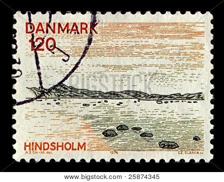 DENMARK-CIRCA 1974:A stamp printed in Denmark shows image of North Denmark Region or North Jutland Region(Region Nordjylland) is an administrative region of Denmark, circa 1974.