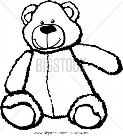 plush bear in black and white