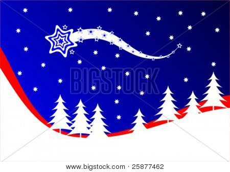 An abstract christmas vector background illustration with a blue comet on a deep blue sky above a tree lined hill