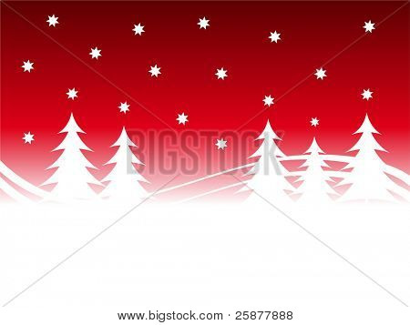 An abstract christmas background illustration with a red starry sky over a white tree lined snowy foreground with room for text