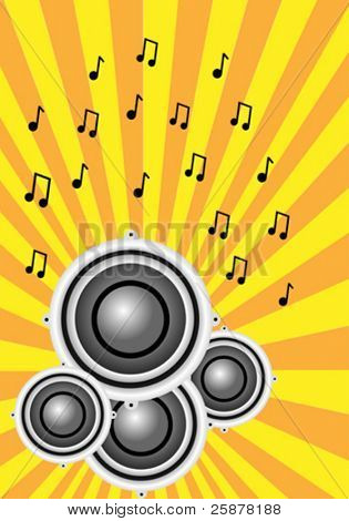 a vector illustration with a group of musical speakers on a sunburst background with a musical notes