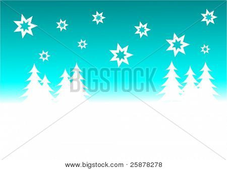 a cyan blue vector christmas background illustration with a blue starry sky over a white tree lined snowy hill