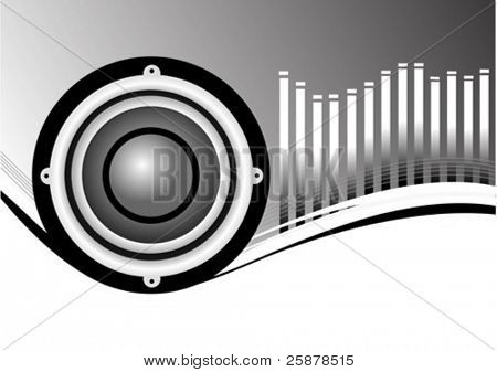 A vector musical background illustration with a large audio speaker on a silver and white backdrop with a graphic equalizer in white, room for text