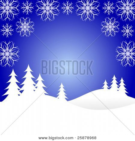 A winter vector background illustration with snow covered christmas trees on snowy hills with large snowflakes with room for text