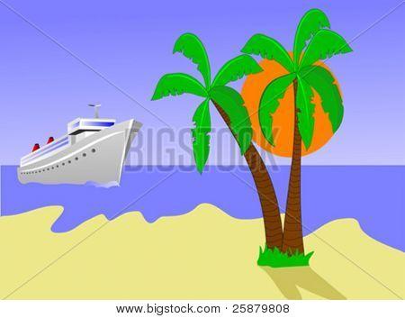 A vector illustration of a cruise ship sailing toward a desert island with palms against a blue sky with an orange sun