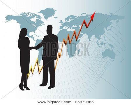 A business man and woman in silhouette shaking hands in front of a graph showing  year on year growth and a map of the world