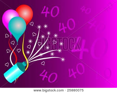 A fortieth birthday party vector illustration with room for text