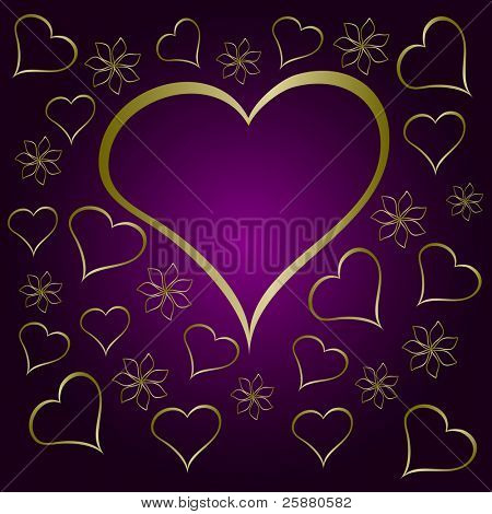 A purple valentines  illustration with a large  heart shaped frame surrounded by small gold hearts and flowers with room for text