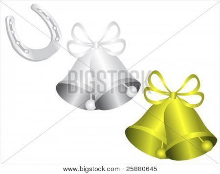 A set of bells and Horseshoe vector symbols which can be used for wedding or christmas celebrations