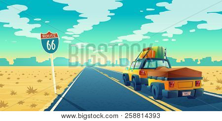 Vector Desert Landscape With Jeep