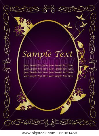 A gold floral vector design with room for text on a rich deep purple background