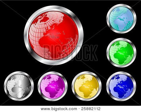 A set of seven vector wire mesh earth globe web buttons