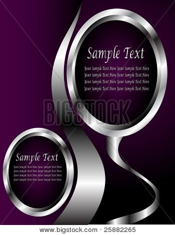 A silver floral vector business card or presentation design tempate with room for text on a rich deep purple background
