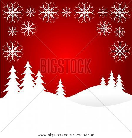 A winter background illustration with large snow covered christmas tree on snowy hills with large snowflakes with room for text