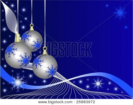 An abstract Christmas vector illustration with  silver baubles on a darker backdrop with white snowflakes and room for text
