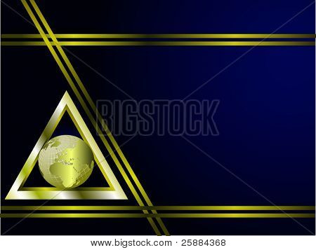A deep blue and gold Business card or Background Template with a world globe enclosed by a gold triangle