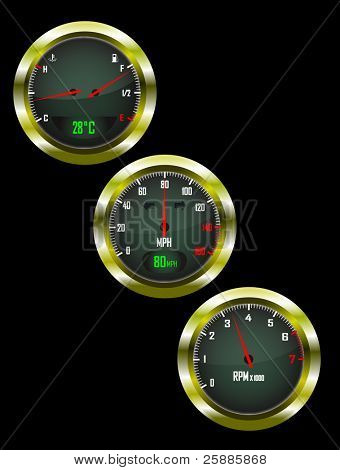 A set of three car dials with speedometer,rev counter and petrol and temperature gauge saved as an EPS10 vector